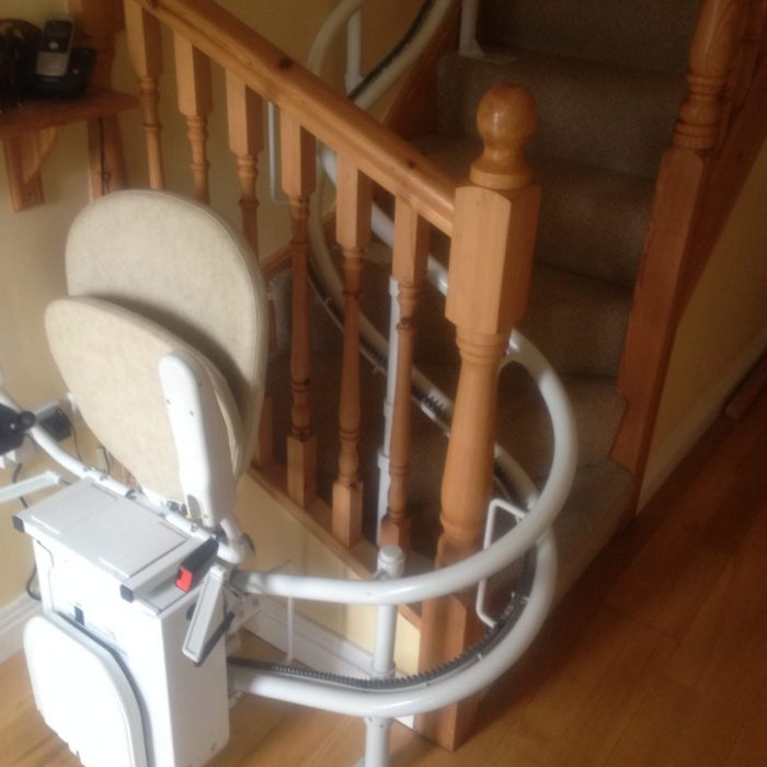 stairlift around the bannisters